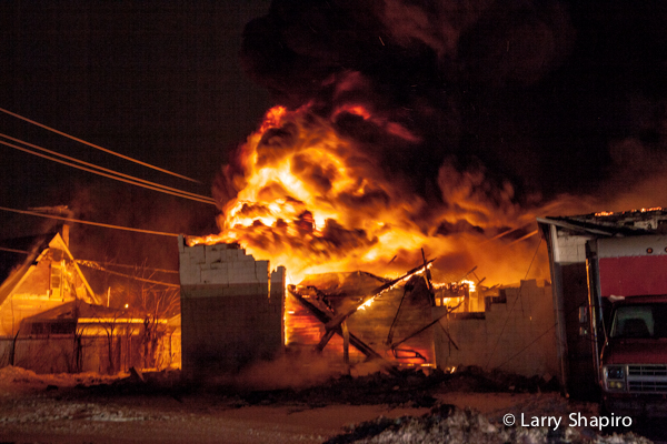 massive building fire at night