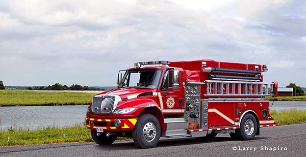 composite image with fire engine